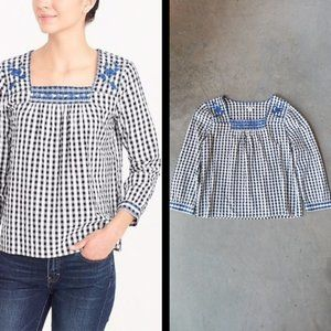 J. Crew Factory Embroidered Gingham Peasant Top M